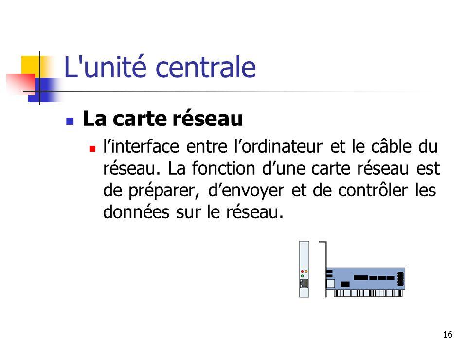 16 L'unité centrale La carte réseau linterface entre lordinateur et le câble du réseau. La fonction dune carte réseau est de préparer, denvoyer et de