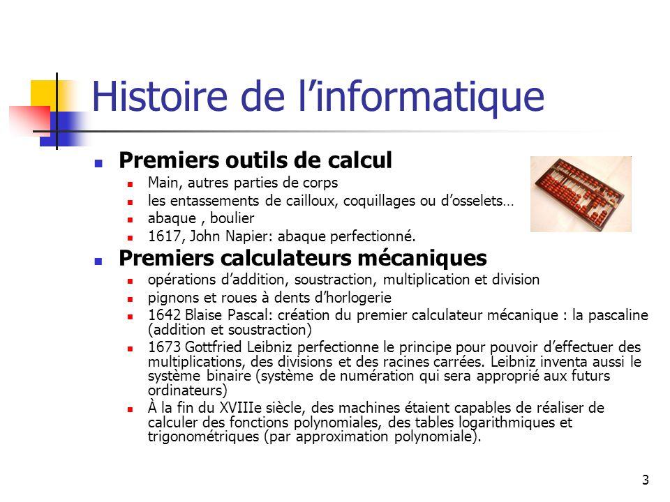 3 Histoire de linformatique Premiers outils de calcul Main, autres parties de corps les entassements de cailloux, coquillages ou dosselets… abaque, bo