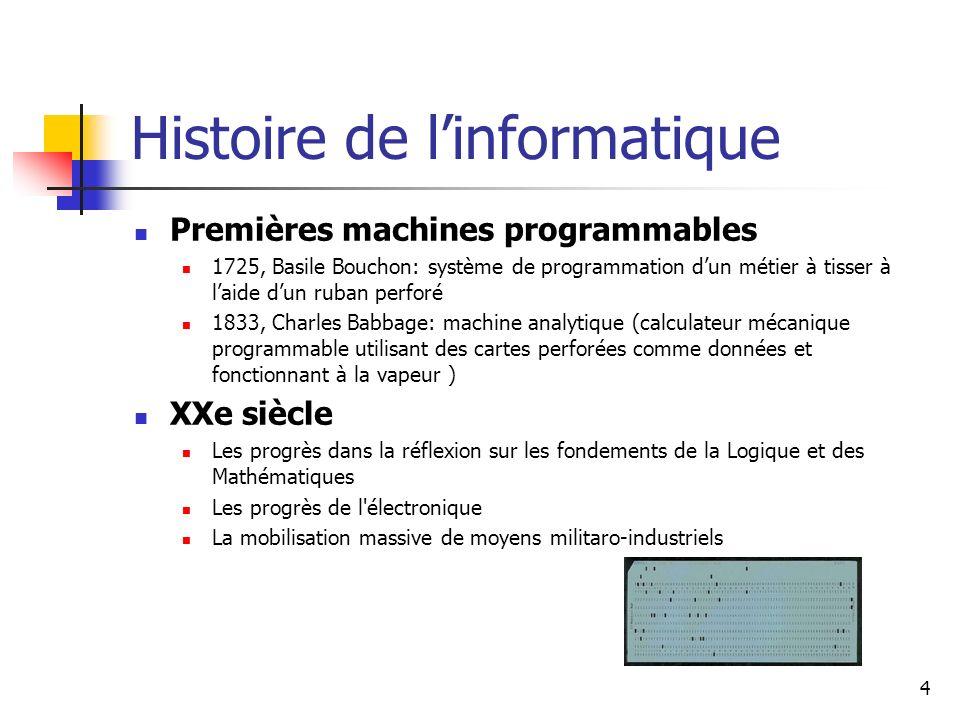 4 Histoire de linformatique Premières machines programmables 1725, Basile Bouchon: système de programmation dun métier à tisser à laide dun ruban perf