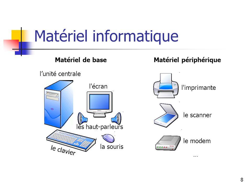 8 Matériel informatique lunité centrale l'écran le clavier la souris l'imprimante le scanner le modem les haut-parleurs Matériel périphérique … Matéri