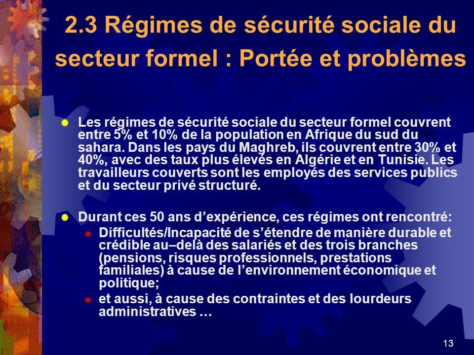13 2.3 Régimes de sécurité sociale du secteur formel : Portée et problèmes Les régimes de sécurité sociale du secteur formel couvrent entre 5% et 10%