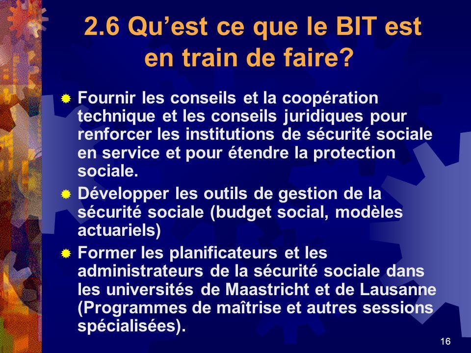 16 2.6 Quest ce que le BIT est en train de faire? Fournir les conseils et la coopération technique et les conseils juridiques pour renforcer les insti