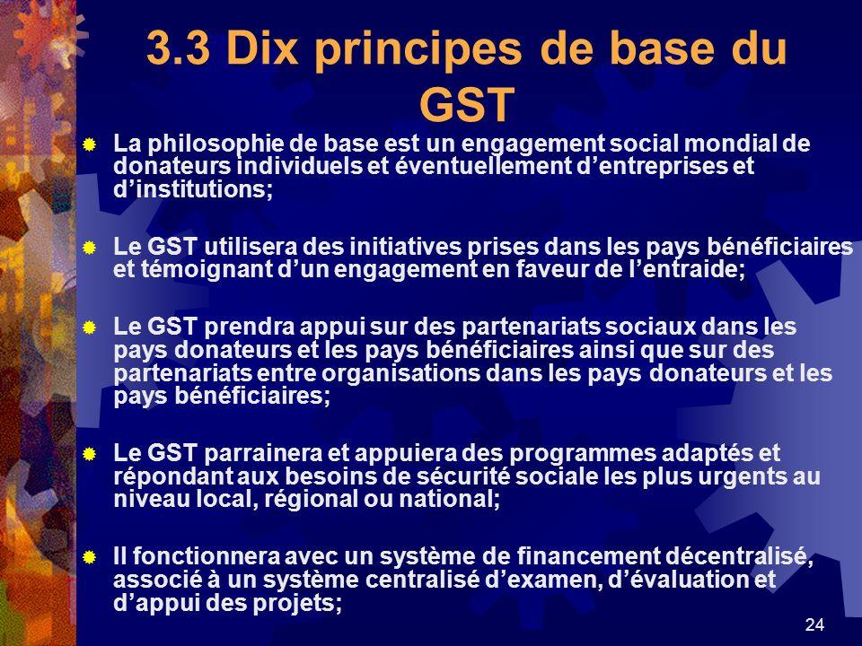 24 3.3 Dix principes de base du GST La philosophie de base est un engagement social mondial de donateurs individuels et éventuellement dentreprises et