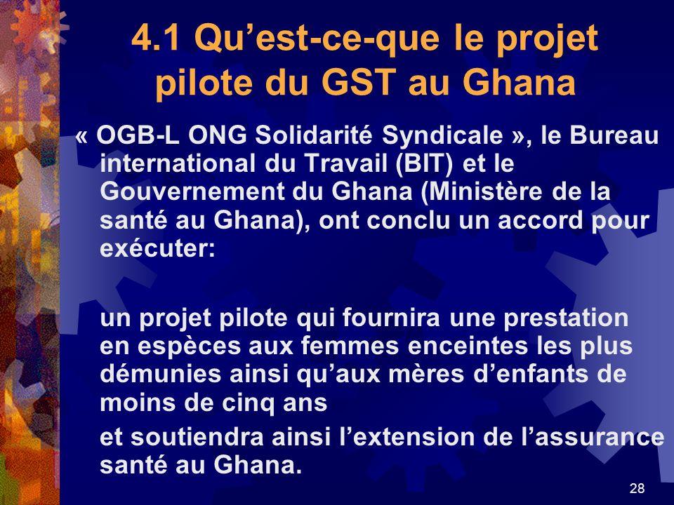28 4.1 Quest-ce-que le projet pilote du GST au Ghana « OGB-L ONG Solidarité Syndicale », le Bureau international du Travail (BIT) et le Gouvernement d