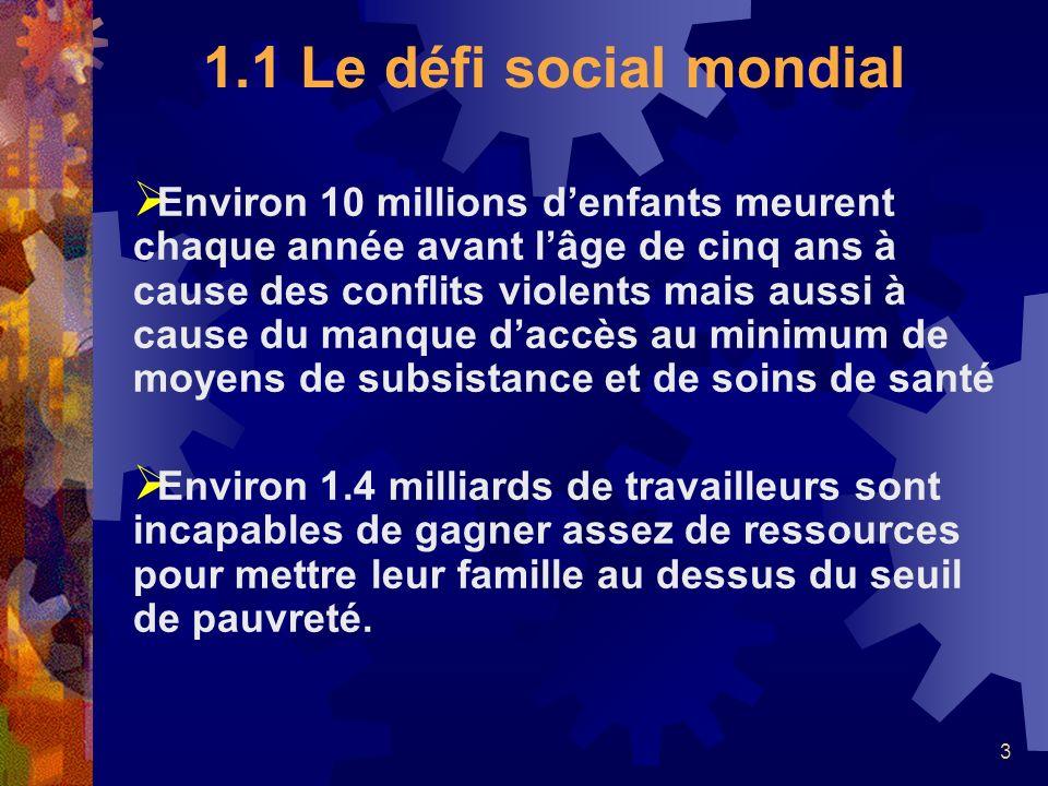 3 1.1 Le défi social mondial Environ 10 millions denfants meurent chaque année avant lâge de cinq ans à cause des conflits violents mais aussi à cause