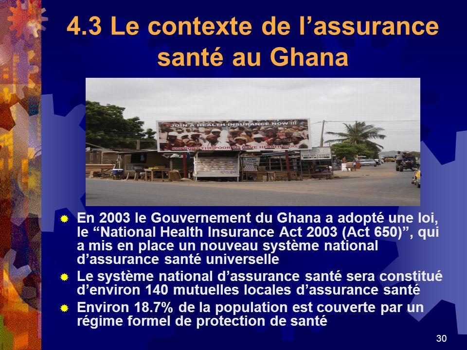 30 4.3 Le contexte de lassurance santé au Ghana En 2003 le Gouvernement du Ghana a adopté une loi, le National Health Insurance Act 2003 (Act 650), qu
