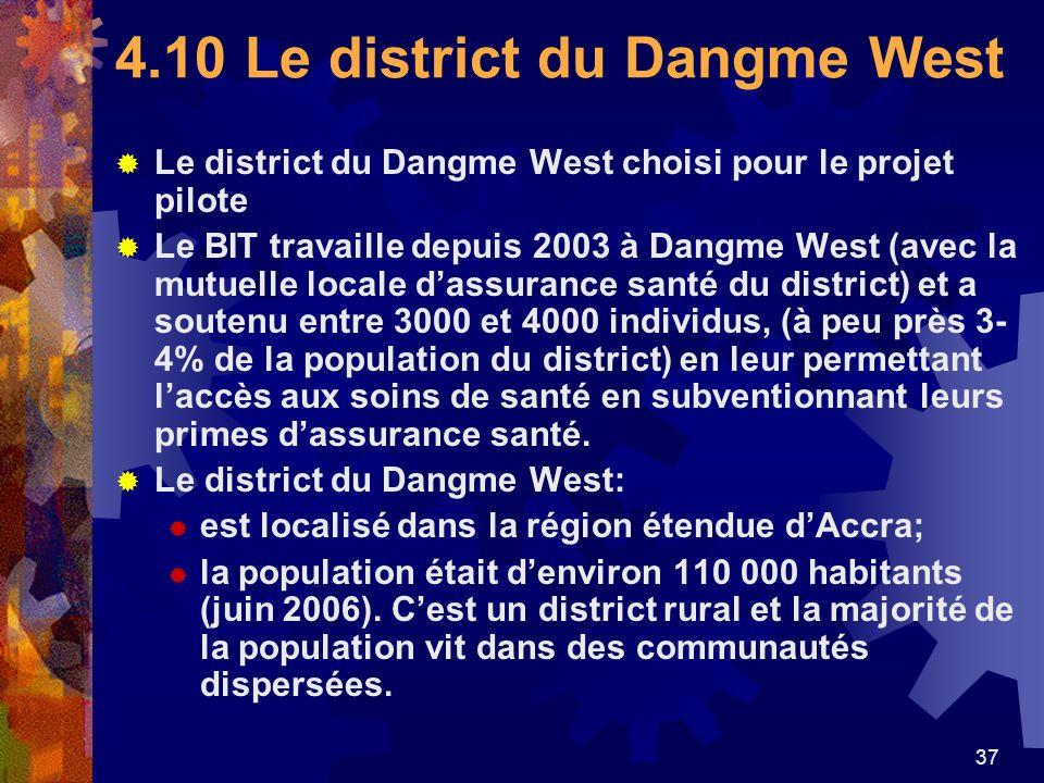 37 4.10 Le district du Dangme West Le district du Dangme West choisi pour le projet pilote Le BIT travaille depuis 2003 à Dangme West (avec la mutuell