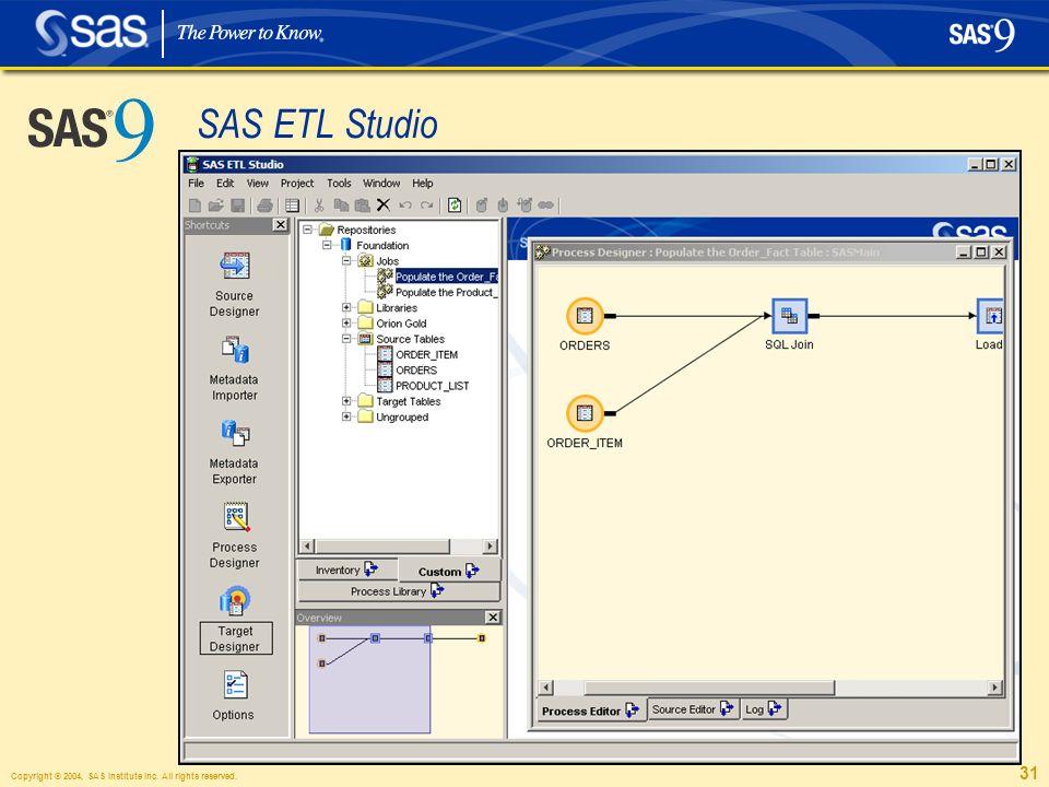 Copyright © 2004, SAS Institute Inc. All rights reserved. 31 SAS ETL Studio