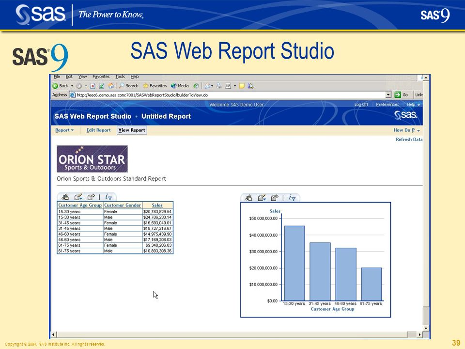 Copyright © 2004, SAS Institute Inc. All rights reserved. 39 SAS Web Report Studio