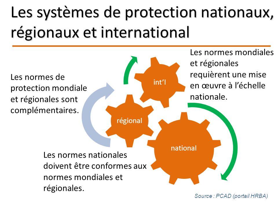 national régional intl Les normes de protection mondiale et régionales sont complémentaires.