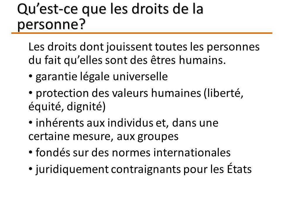 Les droits dont jouissent toutes les personnes du fait quelles sont des êtres humains.