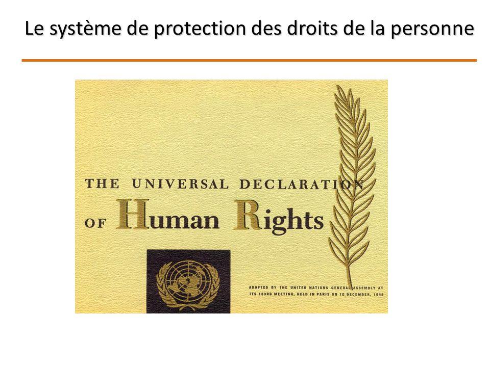 Le système de protection des droits de la personne
