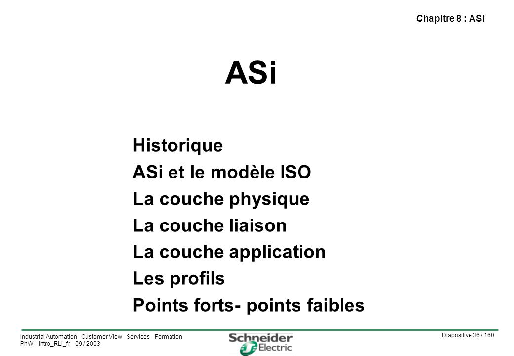 Diapositive 36 / 160 Industrial Automation - Customer View - Services - Formation PhW - Intro_RLI_fr - 09 / 2003 ASi Chapitre 8 : ASi Historique ASi et le modèle ISO La couche physique La couche liaison La couche application Les profils Points forts- points faibles