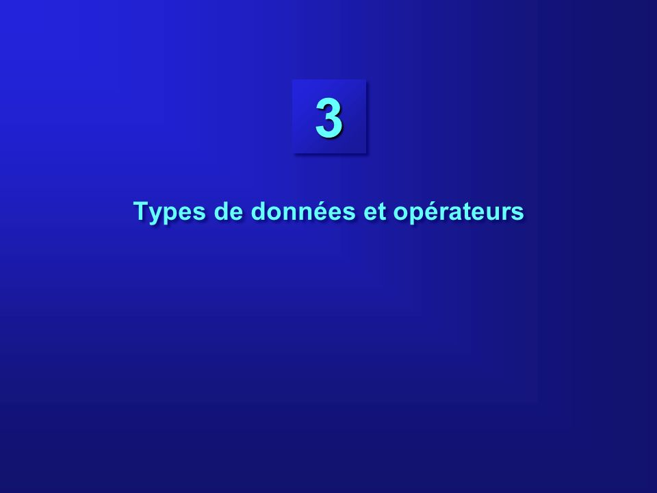 3-12 Littéraux numériques 0 1 42 -23795(decimal) 02 077 0123(octal) 0x0 0x2a 0X1FF(hex) 365L 077L 0x1000L (long) 1.0 4.2.47 1.22e19 4.61E-9 6.2f 6.21F Littéraux entiers Littéraux en virgule flottante