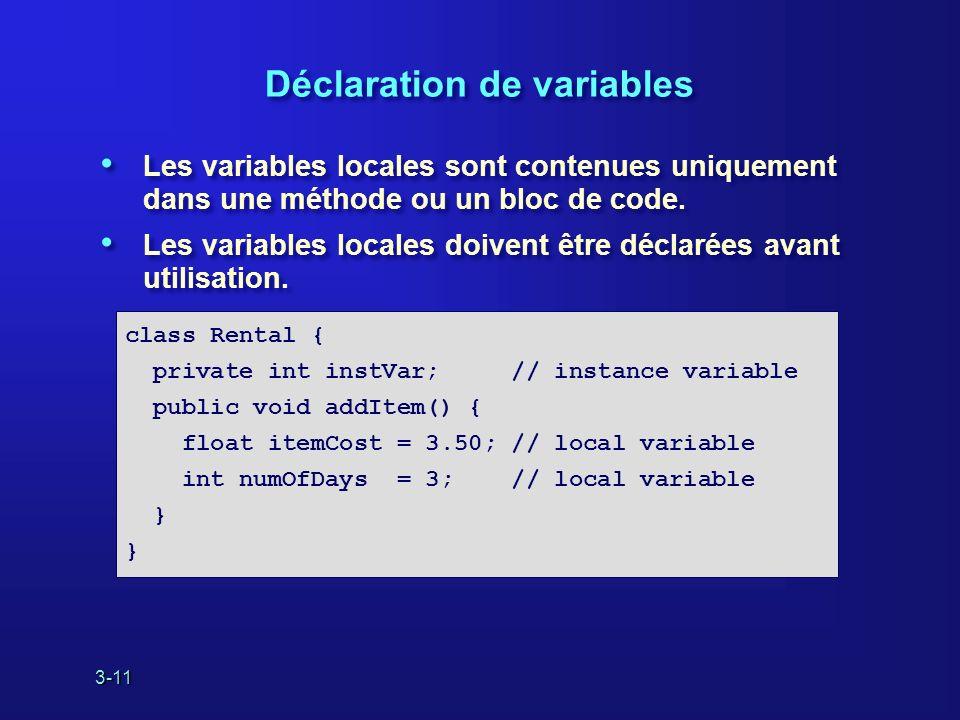 3-11 Déclaration de variables Les variables locales sont contenues uniquement dans une méthode ou un bloc de code.