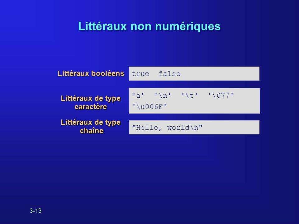 3-13 Littéraux non numériques true false a \n \t \077 \u006F Hello, world\n Littéraux booléens Littéraux de type chaîne Littéraux de type caractère