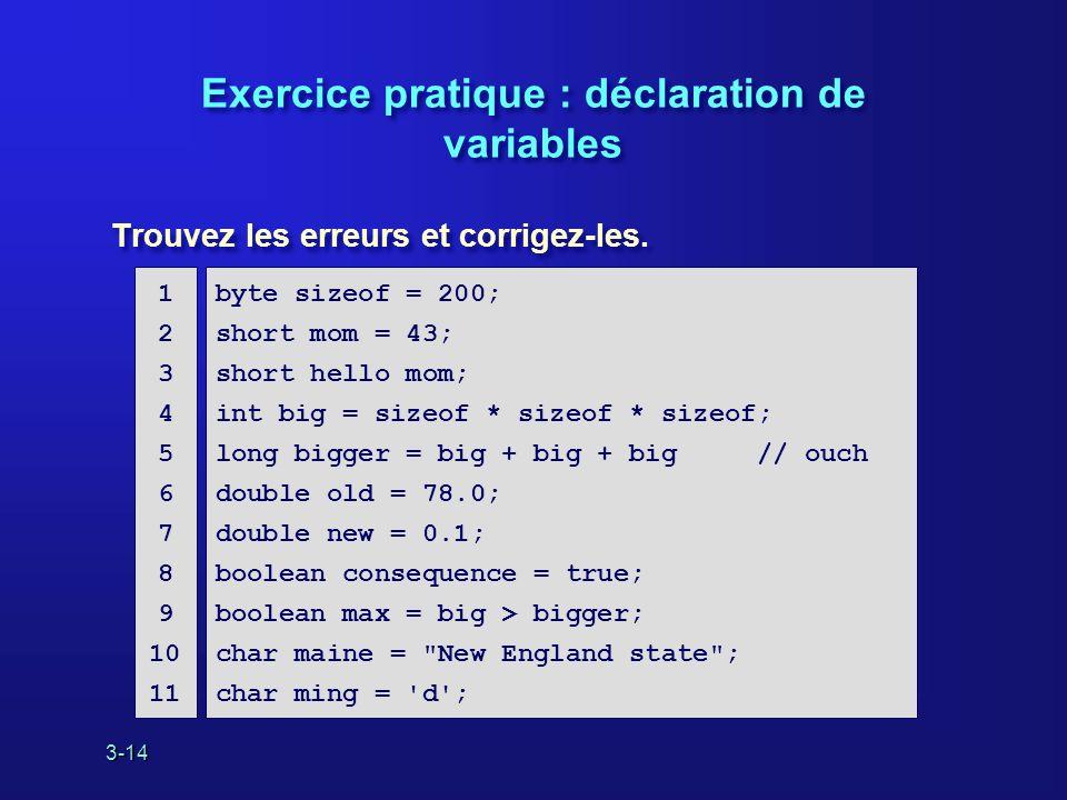 3-14 Exercice pratique : déclaration de variables Trouvez les erreurs et corrigez-les.