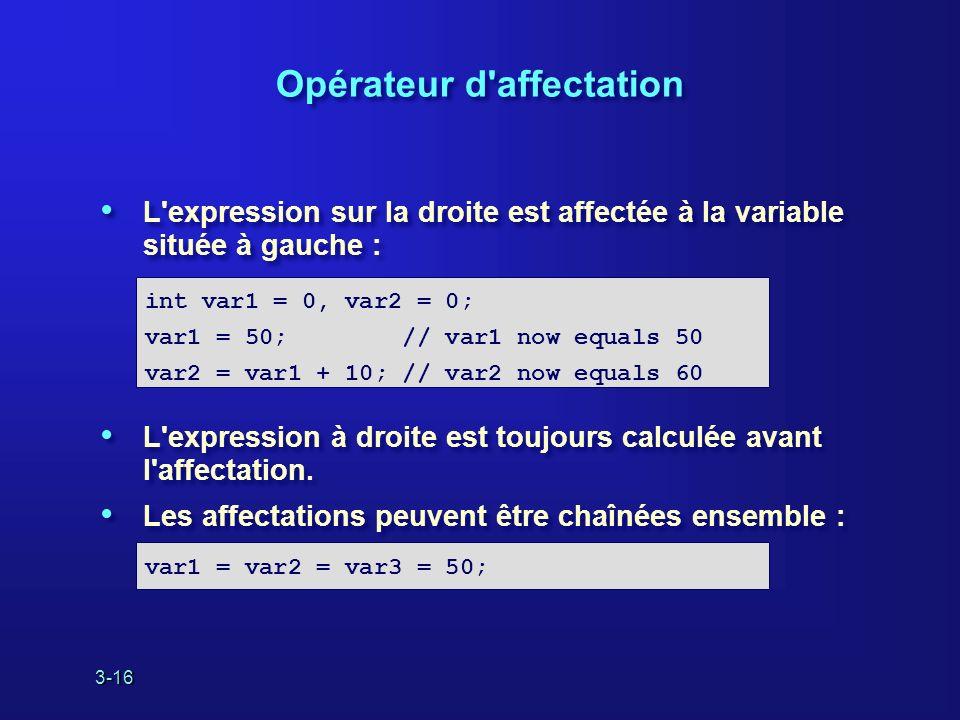 3-16 Opérateur d affectation L expression sur la droite est affectée à la variable située à gauche : L expression à droite est toujours calculée avant l affectation.