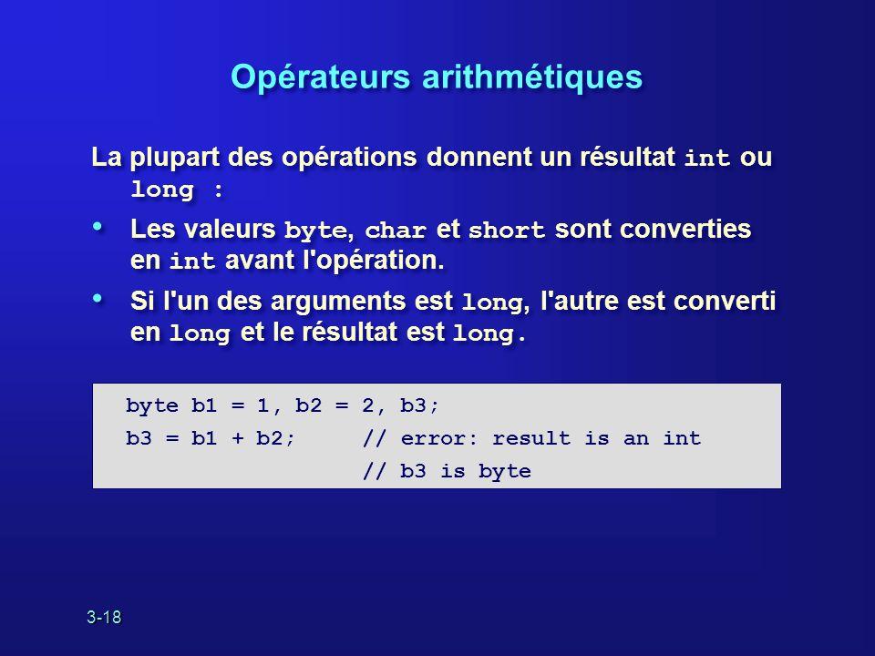 3-18 Opérateurs arithmétiques La plupart des opérations donnent un résultat int ou long : Les valeurs byte, char et short sont converties en int avant l opération.