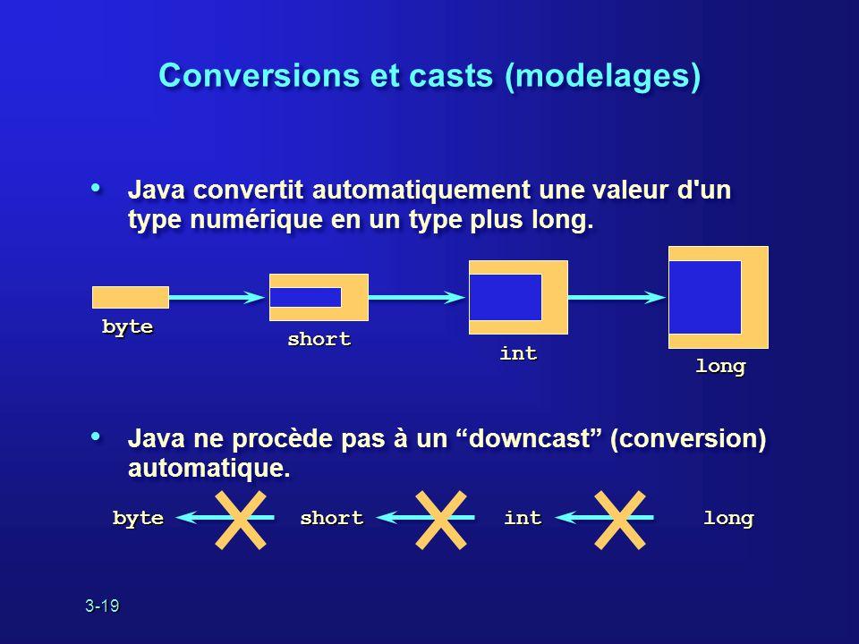 3-19 Java convertit automatiquement une valeur d un type numérique en un type plus long.