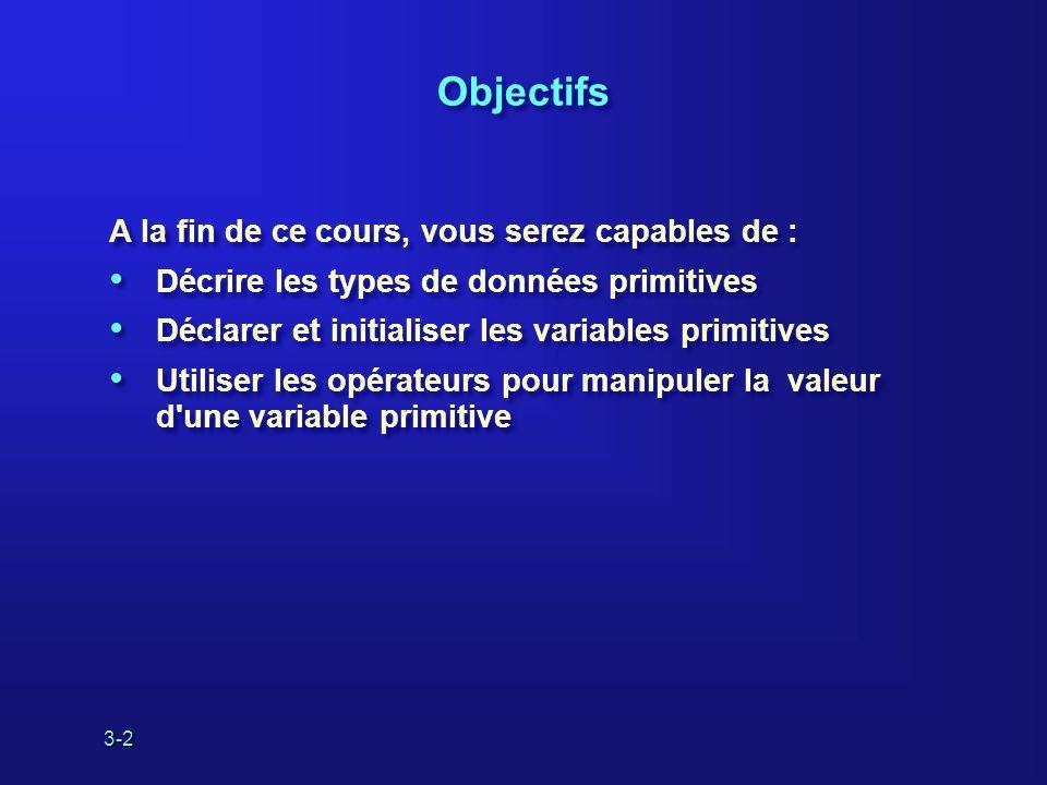 3-2 Objectifs A la fin de ce cours, vous serez capables de : Décrire les types de données primitives Déclarer et initialiser les variables primitives Utiliser les opérateurs pour manipuler la valeur d une variable primitive A la fin de ce cours, vous serez capables de : Décrire les types de données primitives Déclarer et initialiser les variables primitives Utiliser les opérateurs pour manipuler la valeur d une variable primitive