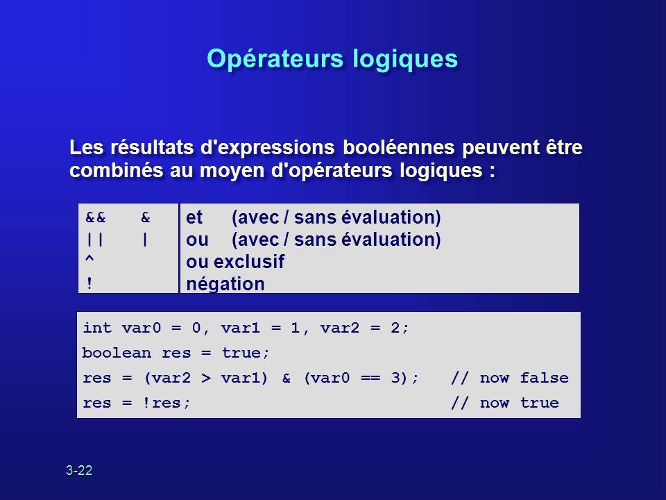 3-22 Opérateurs logiques Les résultats d expressions booléennes peuvent être combinés au moyen d opérateurs logiques : et (avec / sans évaluation) ou (avec / sans évaluation) ou exclusif négation && & || | ^ .