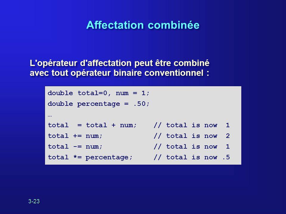 3-23 Affectation combinée L opérateur d affectation peut être combiné avec tout opérateur binaire conventionnel : L opérateur d affectation peut être combiné avec tout opérateur binaire conventionnel : double total=0, num = 1; double percentage =.50; … total = total + num;// total is now 1 total += num;// total is now 2 total -= num;// total is now 1 total *= percentage;// total is now.5