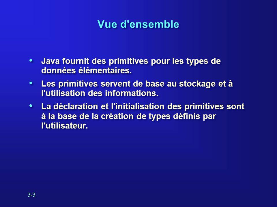 3-3 Vue d ensemble Java fournit des primitives pour les types de données élémentaires.