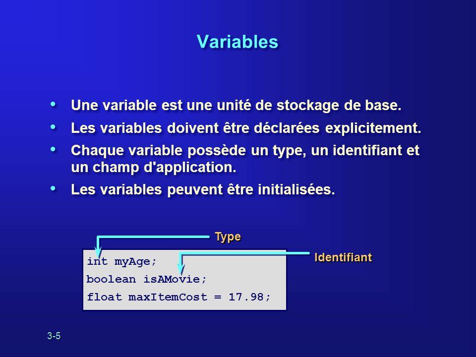 3-5 Variables Une variable est une unité de stockage de base.