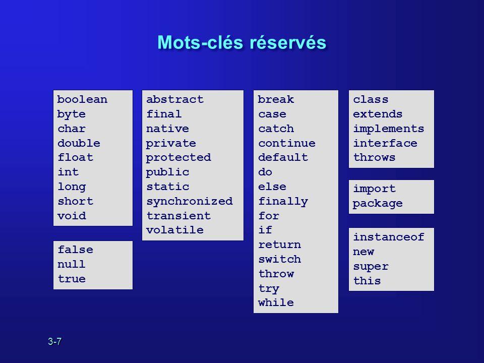 3-7 Mots-clés réservés abstract final native private protected public static synchronized transient volatile break case catch continue default do else