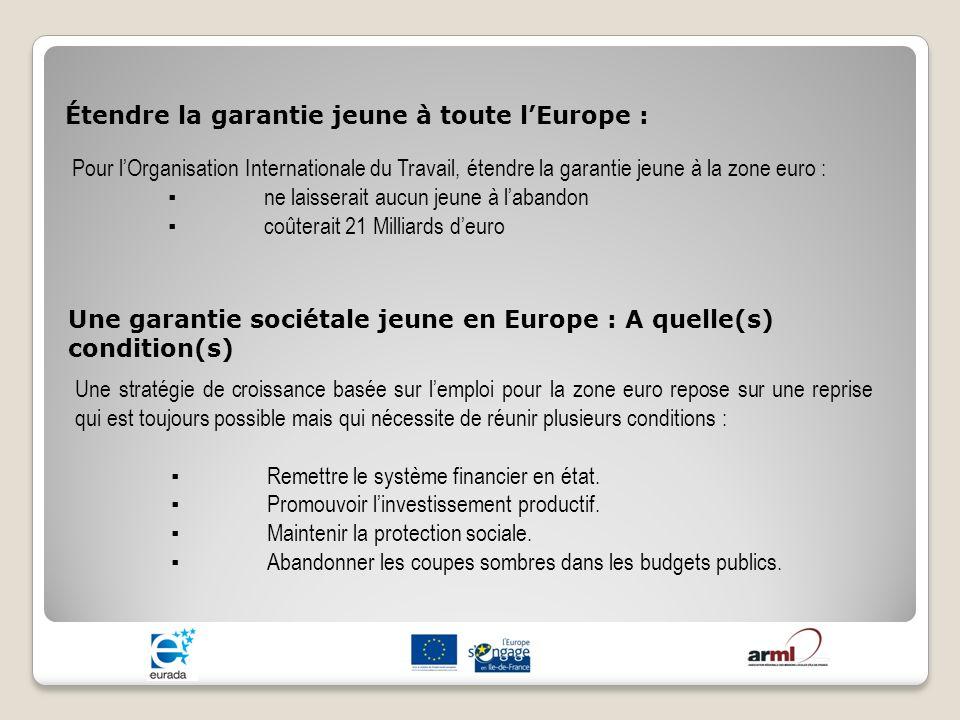 Étendre la garantie jeune à toute lEurope : Pour lOrganisation Internationale du Travail, étendre la garantie jeune à la zone euro : ne laisserait auc