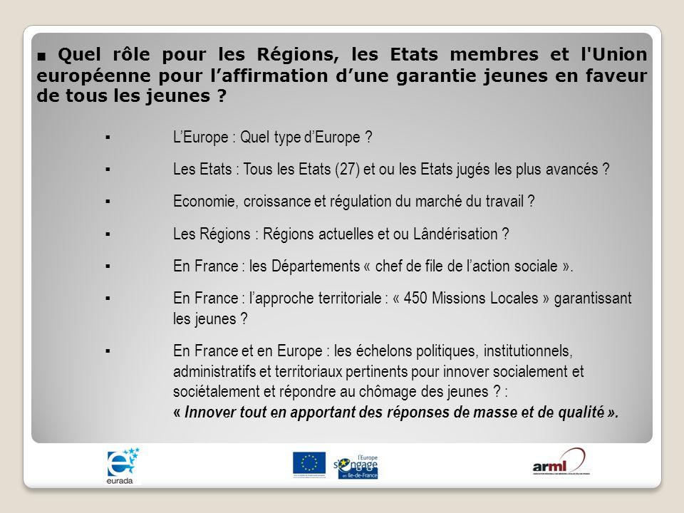 Quel rôle pour les Régions, les Etats membres et l'Union européenne pour laffirmation dune garantie jeunes en faveur de tous les jeunes ? LEurope : Qu