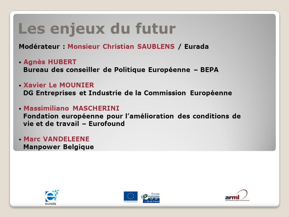 Les enjeux du futur Modérateur : Monsieur Christian SAUBLENS / Eurada Agnès HUBERT Bureau des conseiller de Politique Européenne – BEPA Xavier Le MOUN