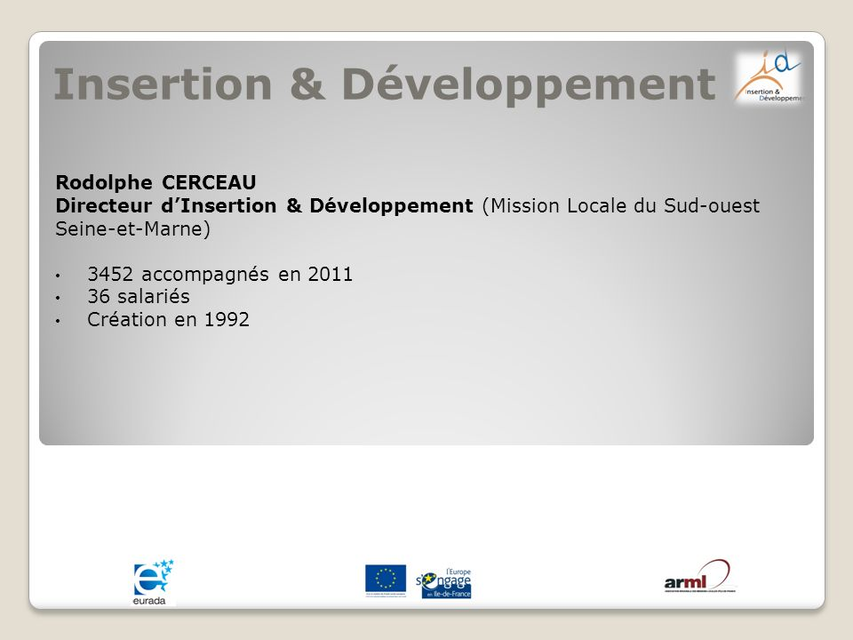 Insertion & Développement Rodolphe CERCEAU Directeur dInsertion & Développement (Mission Locale du Sud-ouest Seine-et-Marne) 3452 accompagnés en 2011
