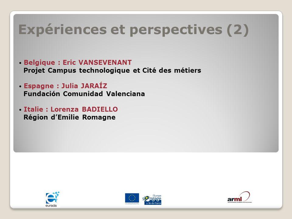 Expériences et perspectives (2) Belgique : Eric VANSEVENANT Projet Campus technologique et Cité des métiers Espagne : Julia JARAÍZ Fundación Comunidad