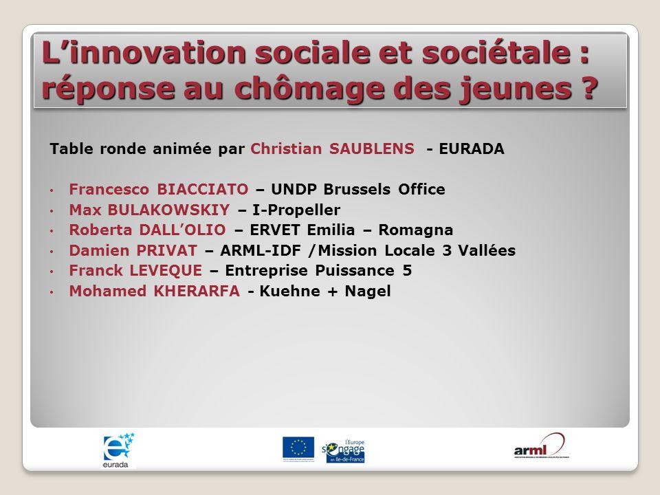 Linnovation sociale et sociétale : réponse au chômage des jeunes ? Table ronde animée par Christian SAUBLENS - EURADA Francesco BIACCIATO – UNDP Bruss