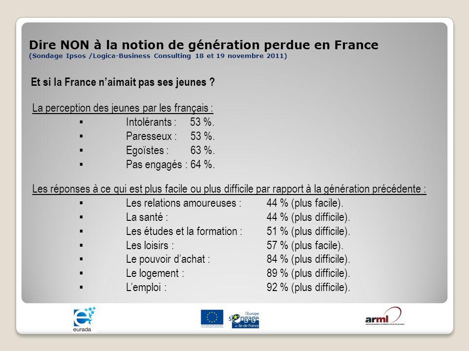 Dire NON à la notion de génération perdue en France (Sondage Ipsos /Logica-Business Consulting 18 et 19 novembre 2011) Et si la France naimait pas ses