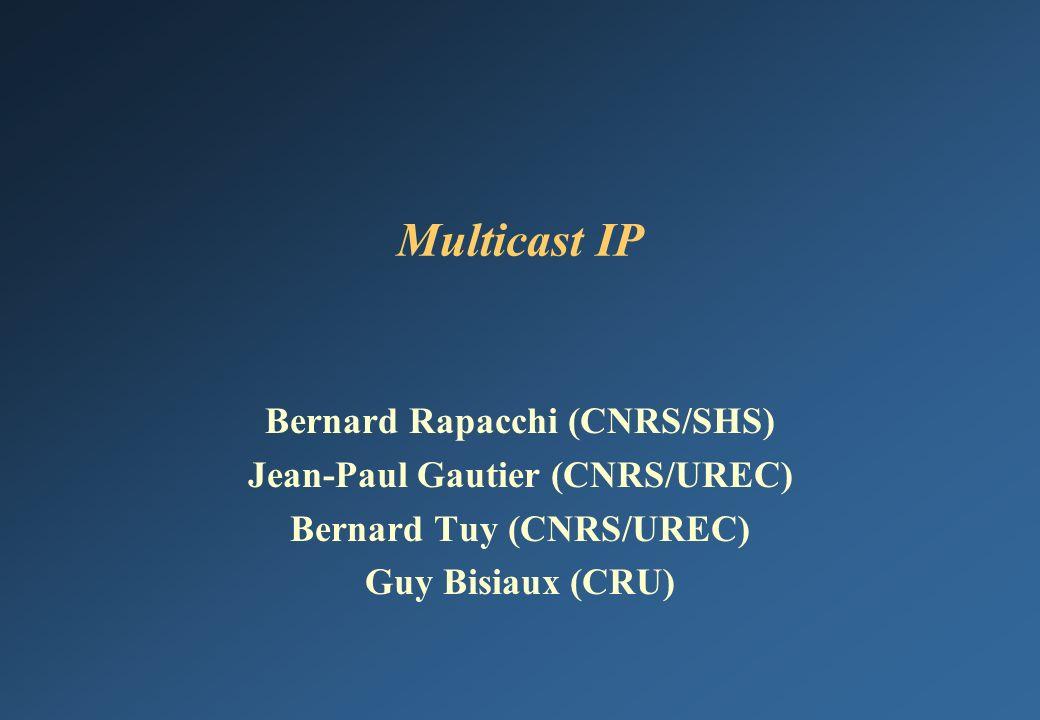 SHS JRES-9922 Agenda Pourquoi le multicast IP .