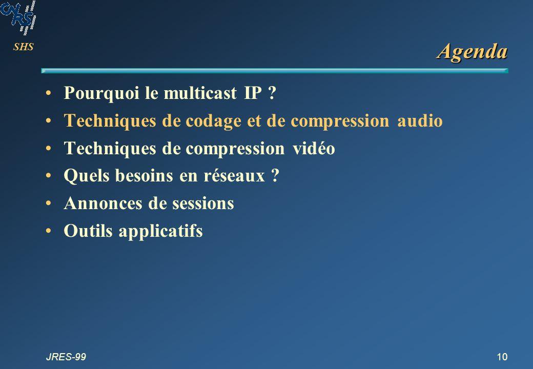 SHS JRES-9910 Agenda Pourquoi le multicast IP ? Techniques de codage et de compression audio Techniques de compression vidéo Quels besoins en réseaux