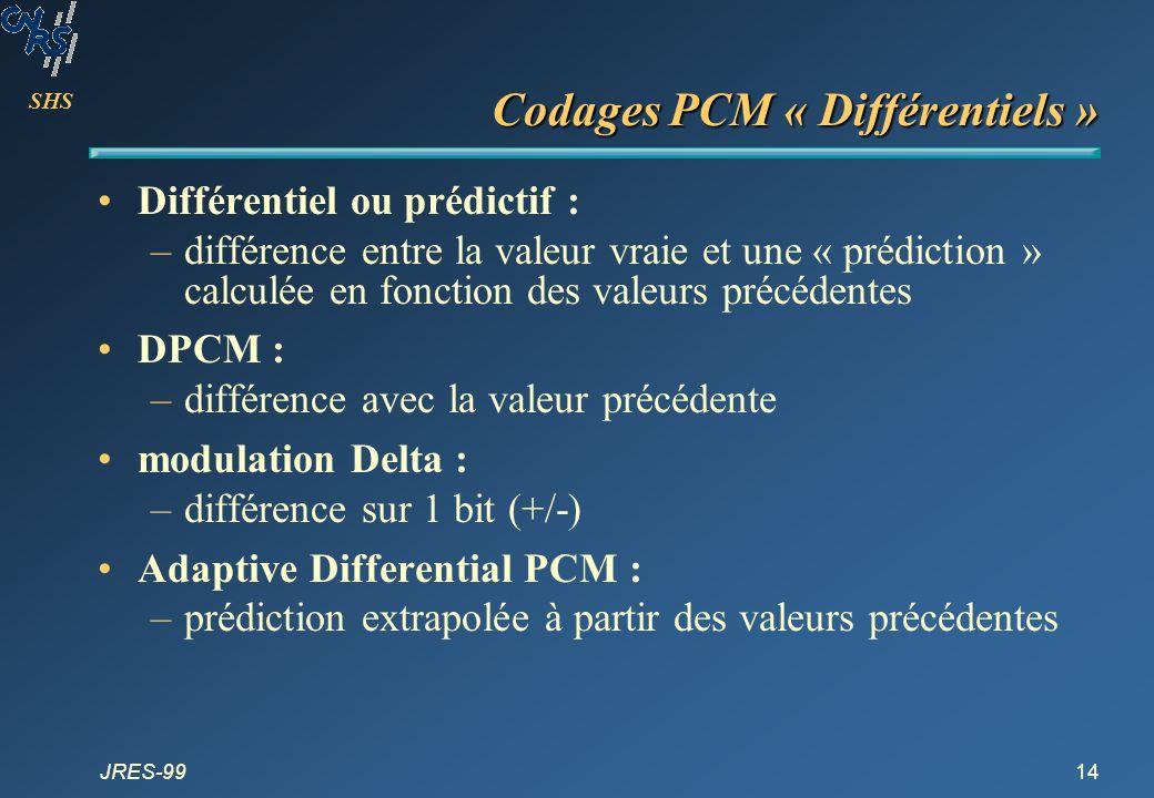 SHS JRES-9914 Codages PCM « Différentiels » Différentiel ou prédictif : –différence entre la valeur vraie et une « prédiction » calculée en fonction d