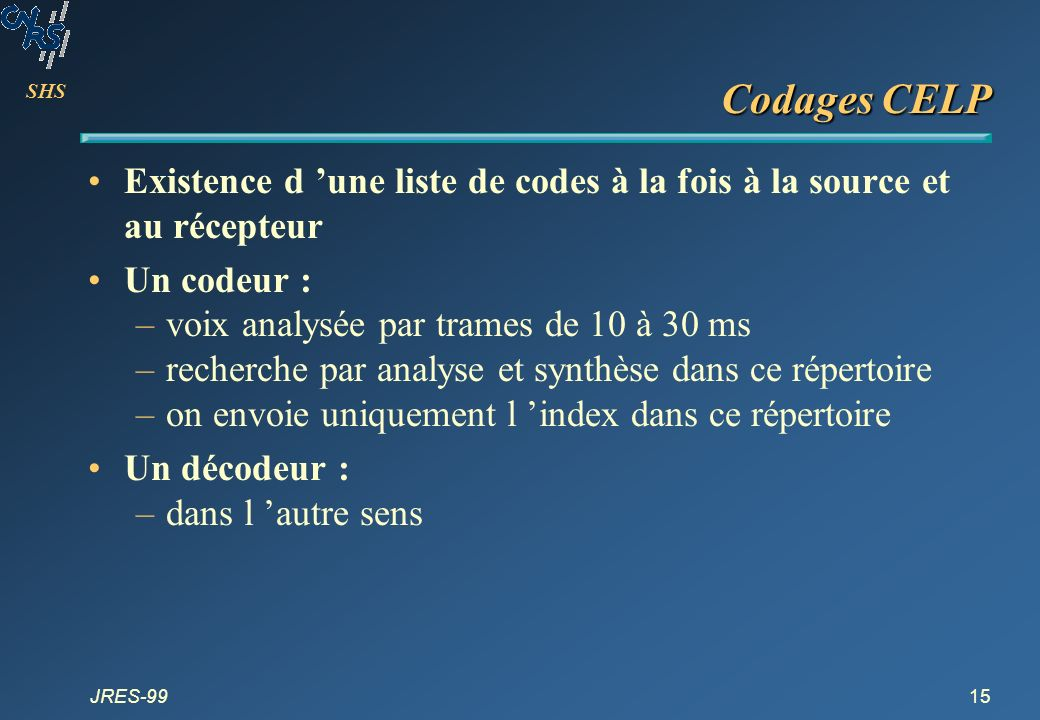 SHS JRES-9915 Codages CELP Existence d une liste de codes à la fois à la source et au récepteur Un codeur : –voix analysée par trames de 10 à 30 ms –r