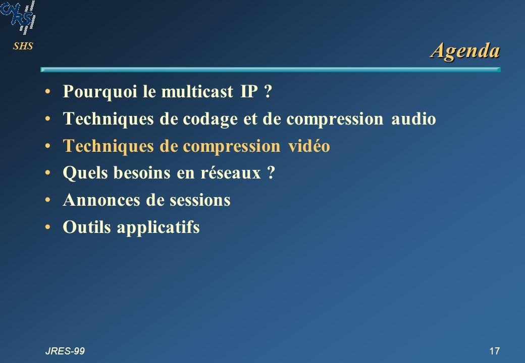SHS JRES-9917 Agenda Pourquoi le multicast IP ? Techniques de codage et de compression audio Techniques de compression vidéo Quels besoins en réseaux
