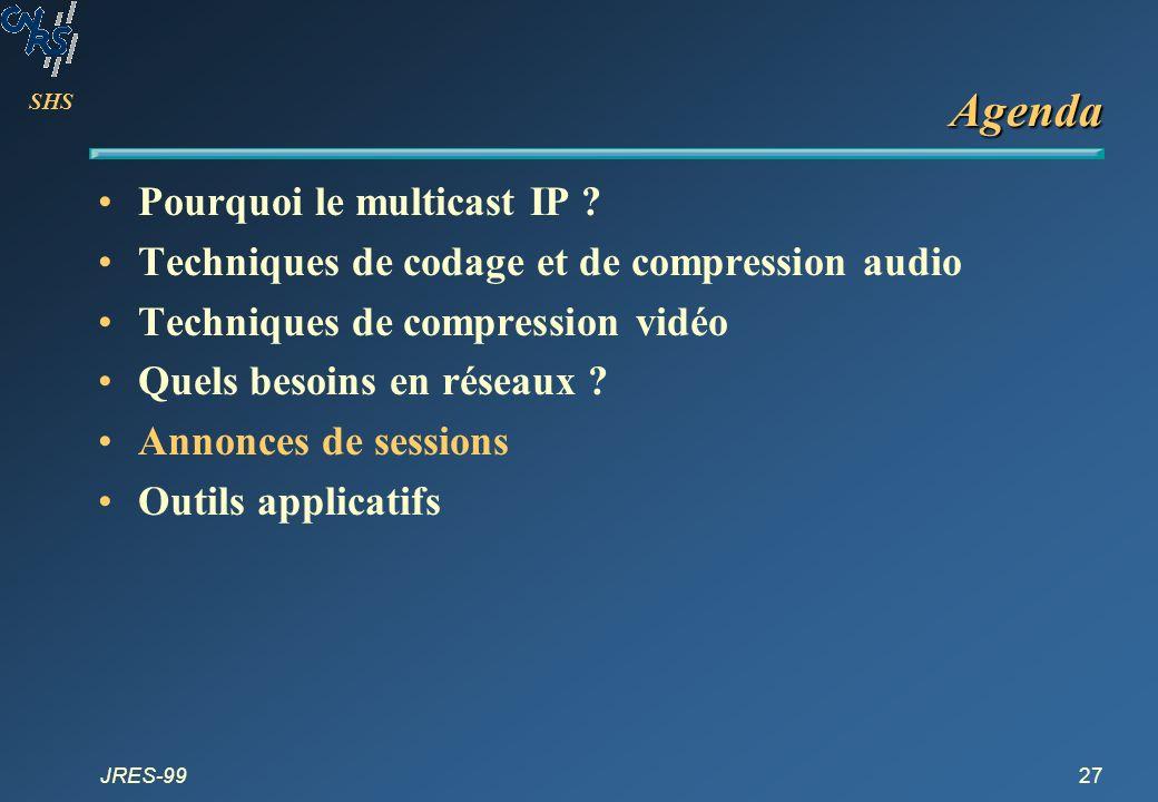 SHS JRES-9927 Agenda Pourquoi le multicast IP ? Techniques de codage et de compression audio Techniques de compression vidéo Quels besoins en réseaux