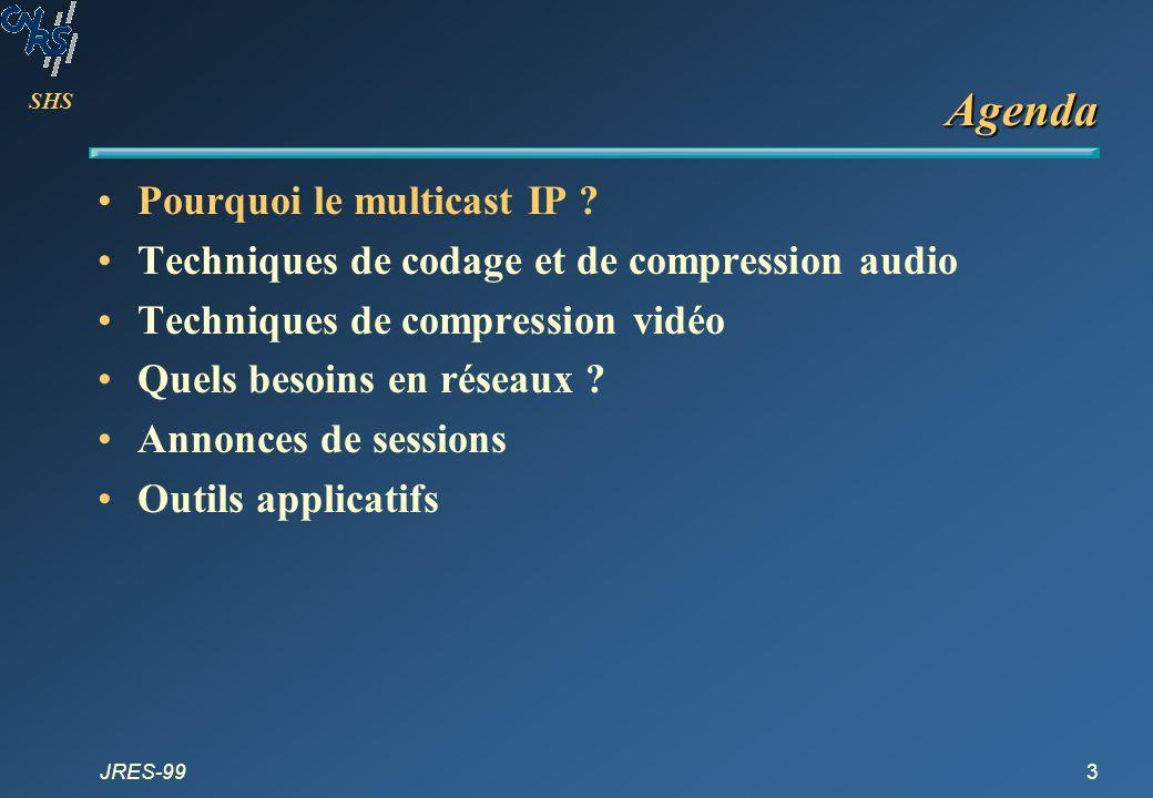 SHS JRES-993 Agenda Pourquoi le multicast IP ? Techniques de codage et de compression audio Techniques de compression vidéo Quels besoins en réseaux ?