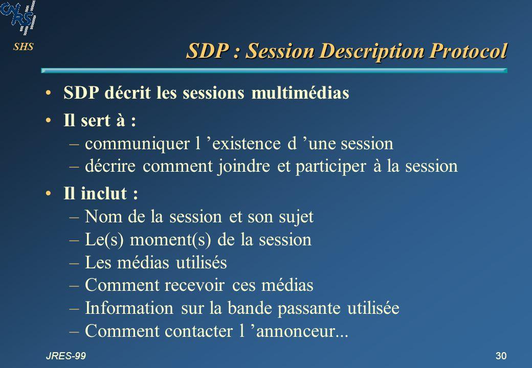 SHS JRES-9930 SDP : Session Description Protocol SDP décrit les sessions multimédias Il sert à : –communiquer l existence d une session –décrire comme