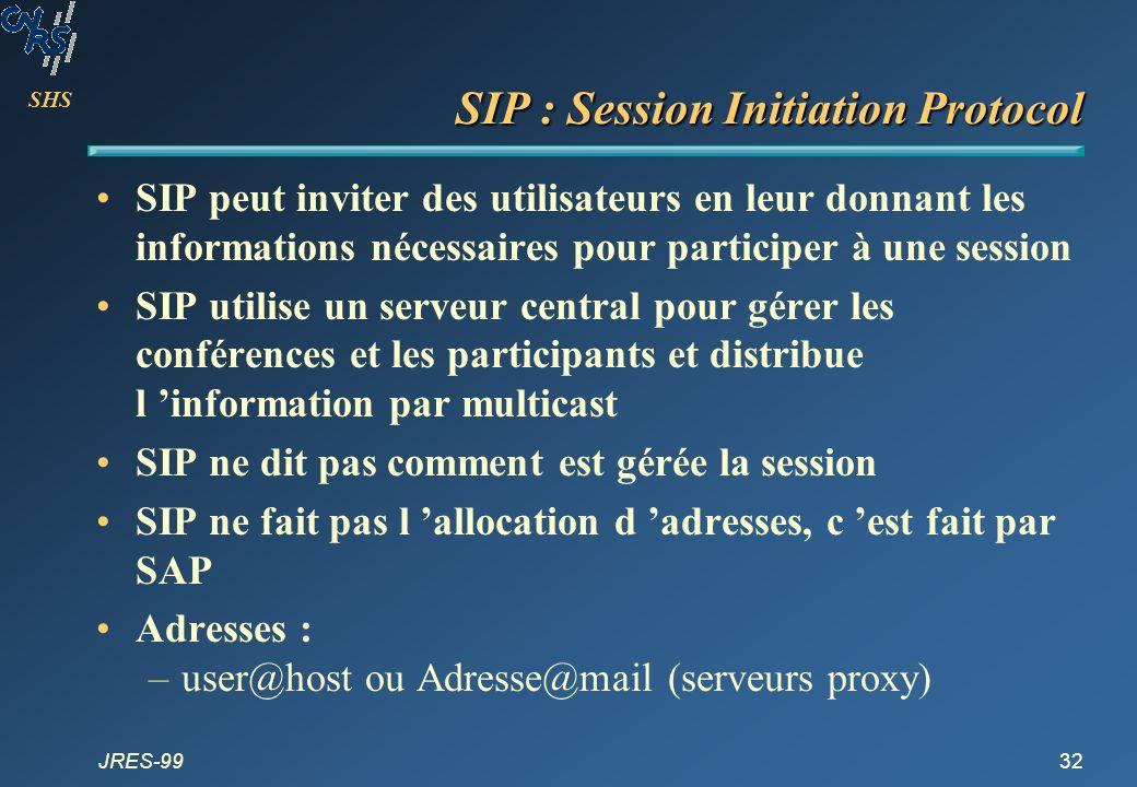 SHS JRES-9932 SIP : Session Initiation Protocol SIP peut inviter des utilisateurs en leur donnant les informations nécessaires pour participer à une s