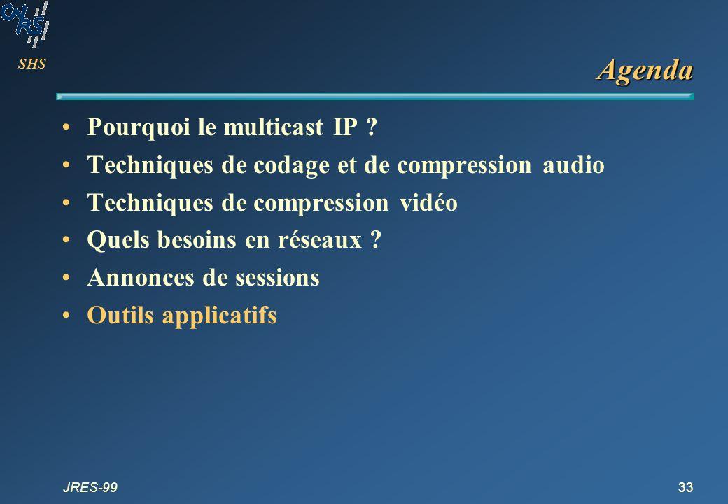 SHS JRES-9933 Agenda Pourquoi le multicast IP ? Techniques de codage et de compression audio Techniques de compression vidéo Quels besoins en réseaux