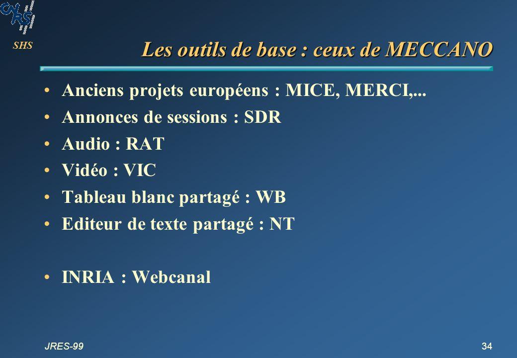SHS JRES-9934 Les outils de base : ceux de MECCANO Anciens projets européens : MICE, MERCI,... Annonces de sessions : SDR Audio : RAT Vidéo : VIC Tabl
