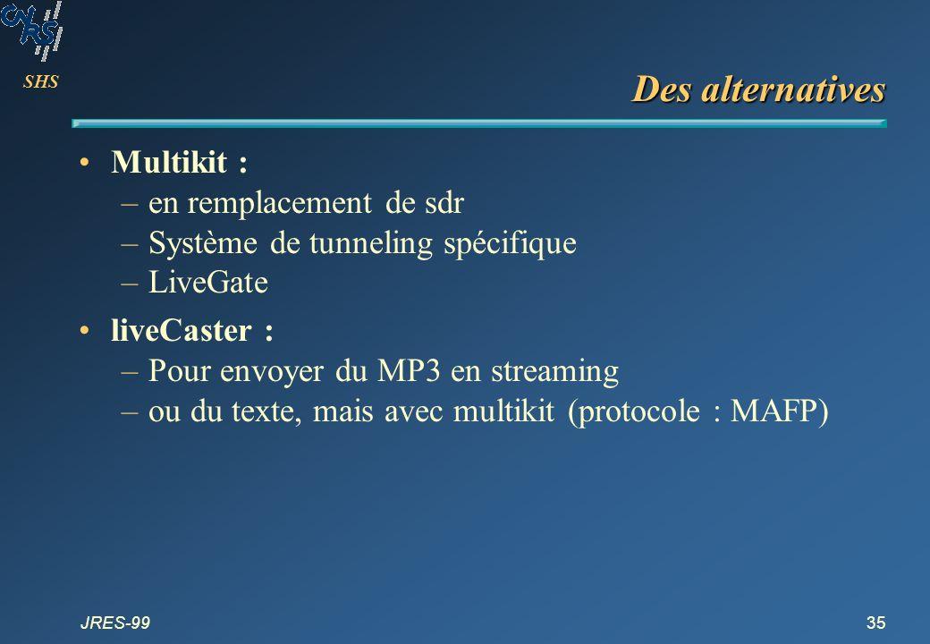 SHS JRES-9935 Des alternatives Multikit : –en remplacement de sdr –Système de tunneling spécifique –LiveGate liveCaster : –Pour envoyer du MP3 en stre