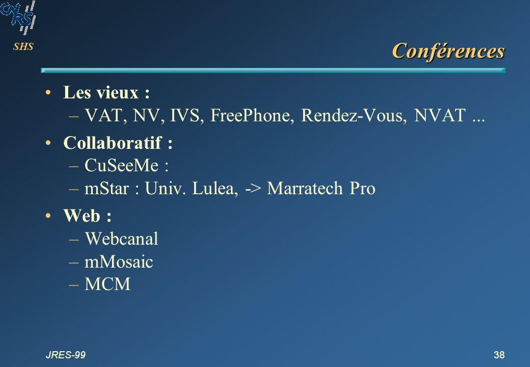 SHS JRES-9938 Conférences Les vieux : –VAT, NV, IVS, FreePhone, Rendez-Vous, NVAT... Collaboratif : –CuSeeMe : –mStar : Univ. Lulea, -> Marratech Pro